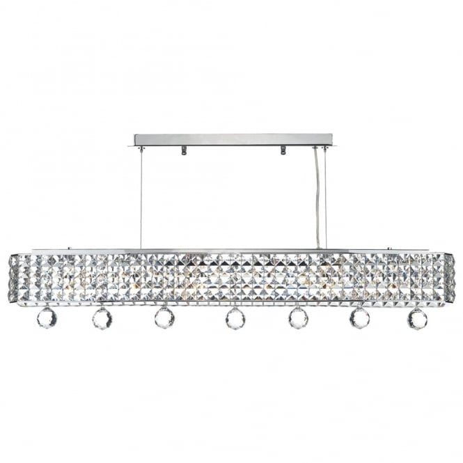 Dar Lighting Matrix 6 Light Linear Crystal Pendant