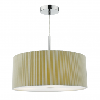 Maurice Three Light Large Micropleat Pendant in Putty