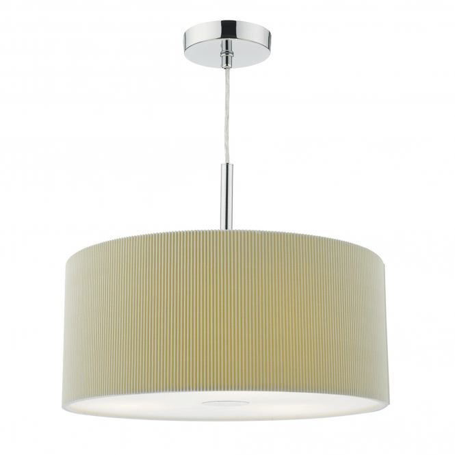 Dar Lighting Maurice Three Light Micropleat Pendant in Putty