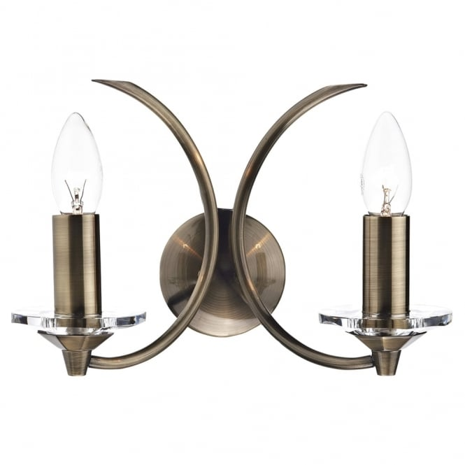 Dar Lighting Medusa Wall Light in Antique Brass