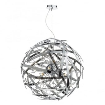 Melba Twelve Lamp Smoked Glass Spherical Pendant