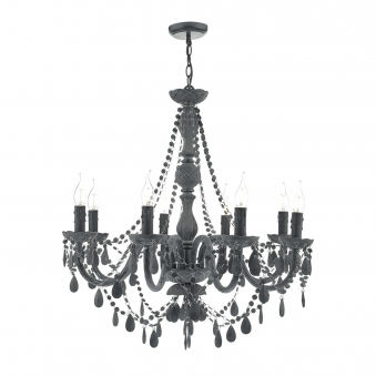 Meridith Eight Light Chandelier in Matt Grey