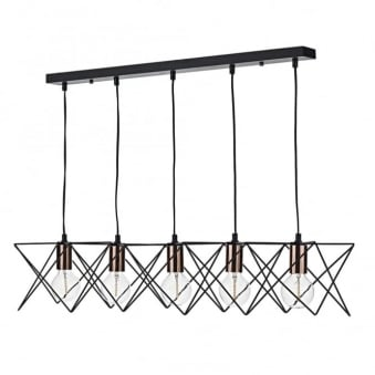Midi Five Light Bar Pendant in Matt Black and Copper