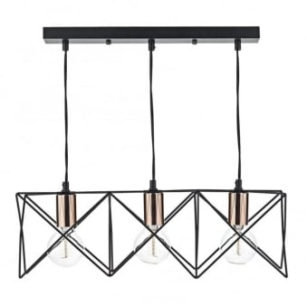 Midi Triple Light Bar Pendant in Matt Black and Copper