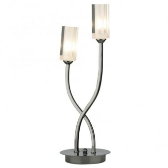 Morgan Double Table Lamp in Black Chrome