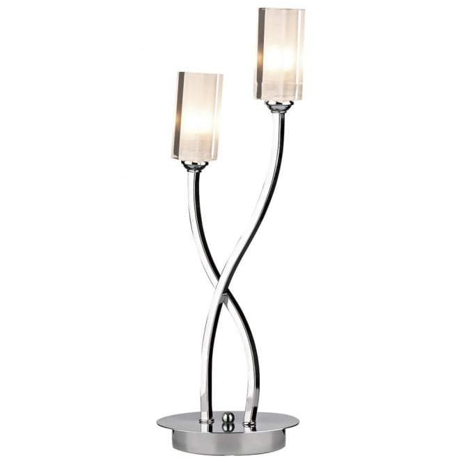 Dar Lighting Morgan Double Table Lamp in Polished Chrome