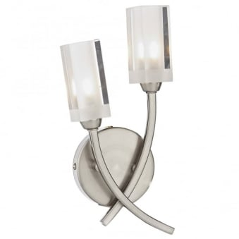 Morgan Double Wall Light in Satin Chrome