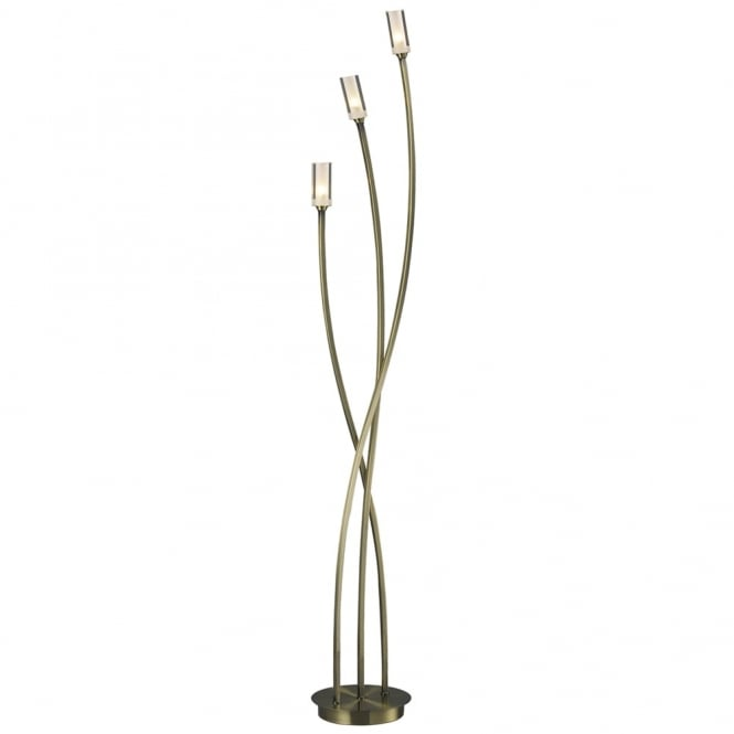 Dar Lighting Morgan Triple Floor Lamp in Antique Brass