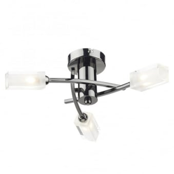 Morgan Triple Light Semi Flush Fitting in Black Chrome