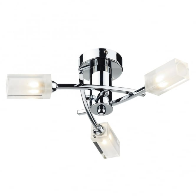 Dar Lighting Morgan Triple Light Semi Flush Fitting in Polished Chrome