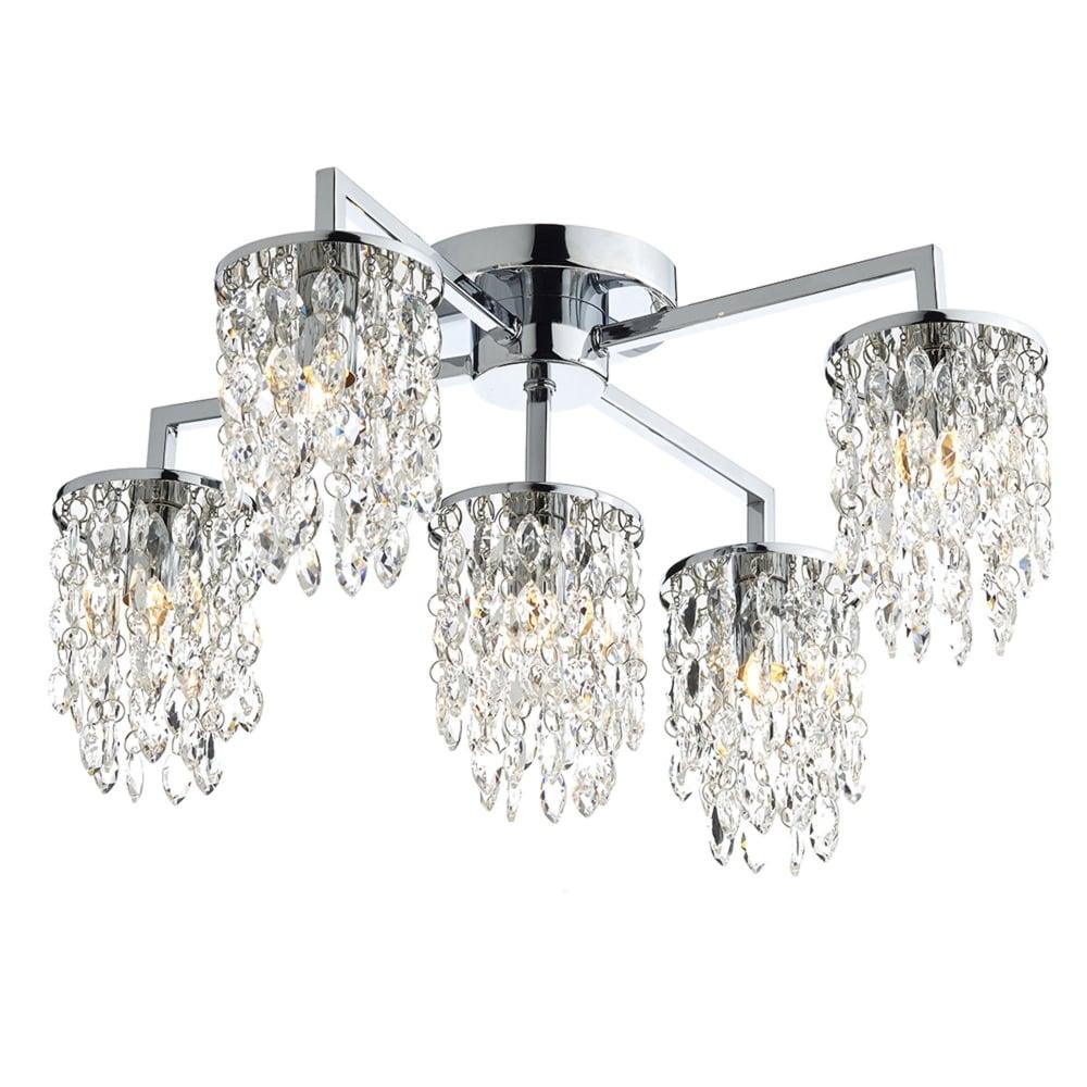 dar lighting niagra five arm polished chrome and glass ceiling light