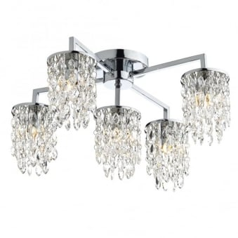 Niagra Five Arm Polished Chrome and Glass Ceiling Light