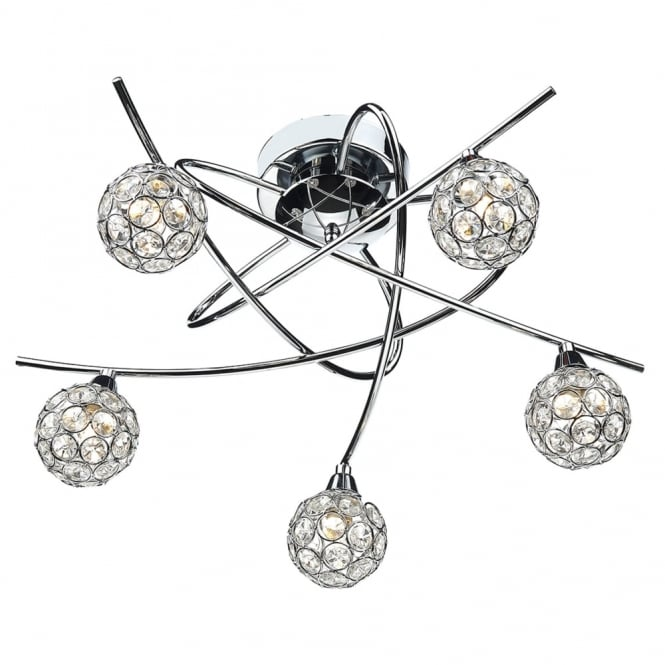Dar Lighting Nucleus Five Arm Chrome and Glass Ceiling Light