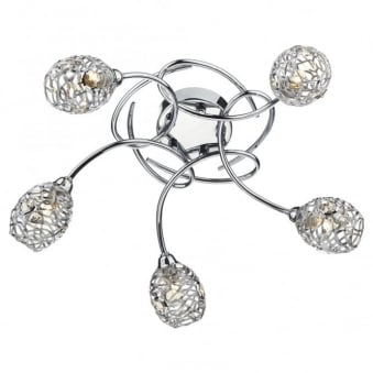 Numero Five Arm Chrome and Crystal Ceiling Light