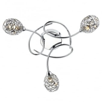 Numero Three Arm Chrome and Crystal Ceiling Light