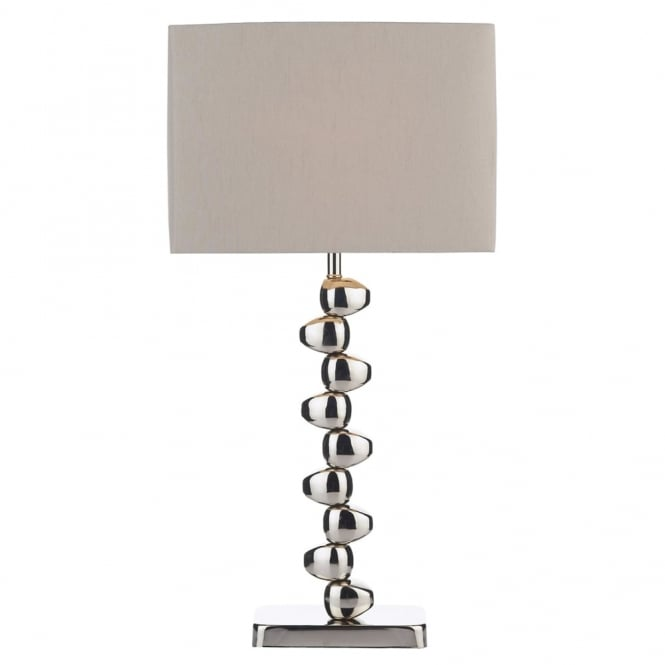 Dar Lighting Offset Table Lamp with Taupe Faux Silk Shade