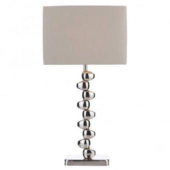 Offset Table Lamp with Taupe Faux Silk Shade