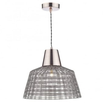 Ohio Pendant in Dark Copper with Woven Open Mesh Shade