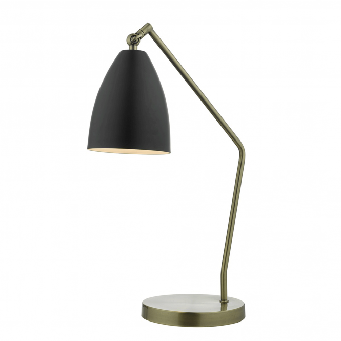 Dar Lighting Olly Desk Lamp in Antique Brass and Black