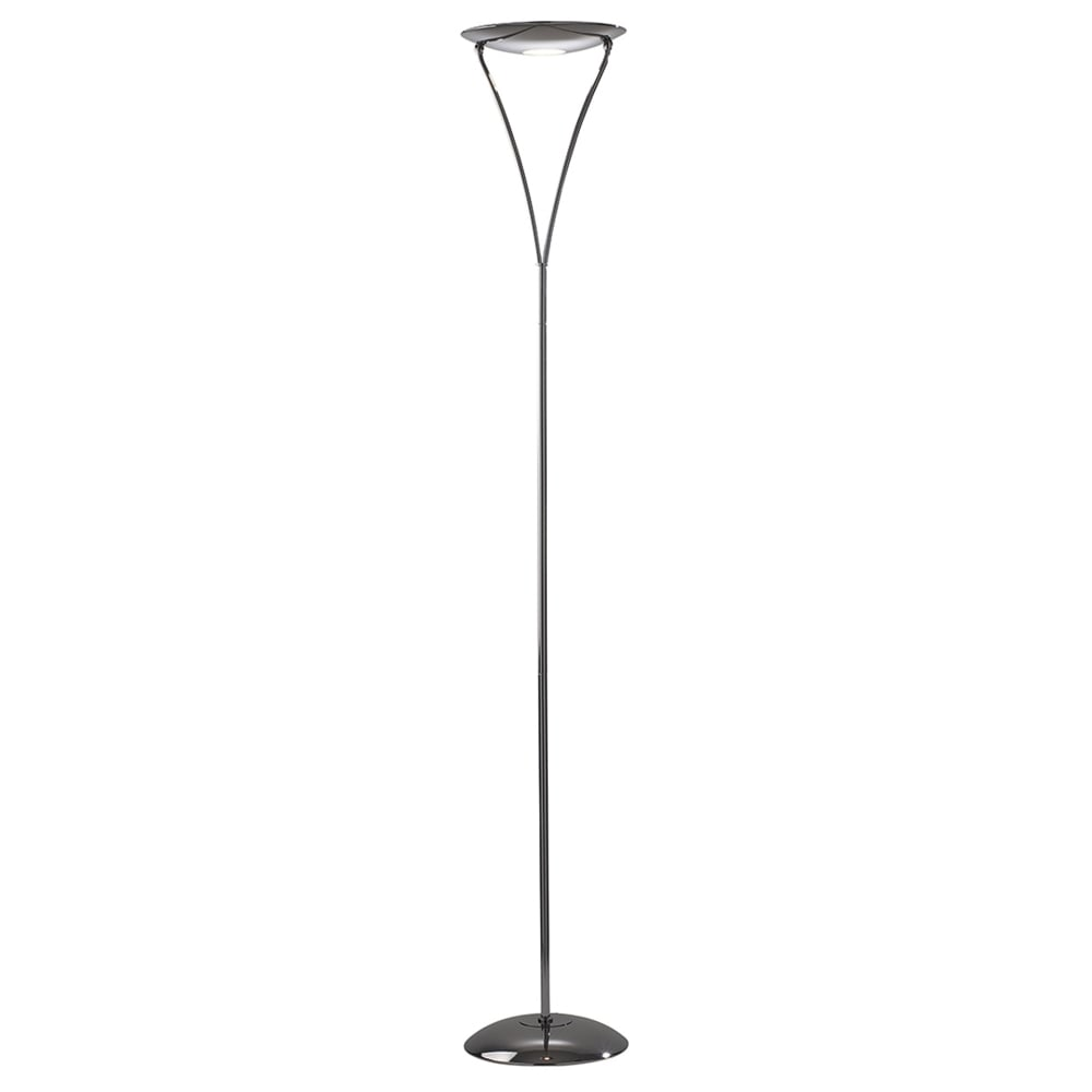 Dar lighting opus dimmable uplighter floor lamp in black for Montana uplighter floor lamp black chrome