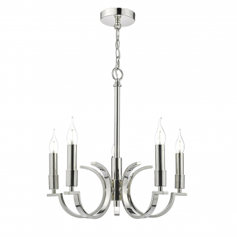 Orford Five Light Pendant in Polished Nickel