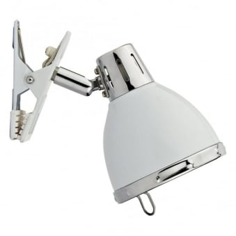 Osaka Clip On Wall Lamp in Gloss White and Chrome