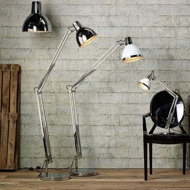 Dar Lighting Osaka Outsized Floor Lamp in Antique Chrome