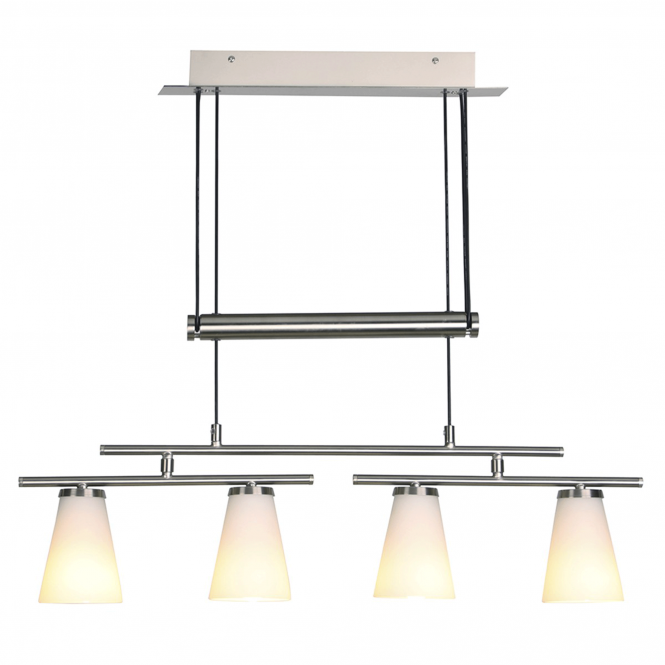 Dar Lighting Osbourne Rise and Fall Bar Pendant with Opal Glass Shades