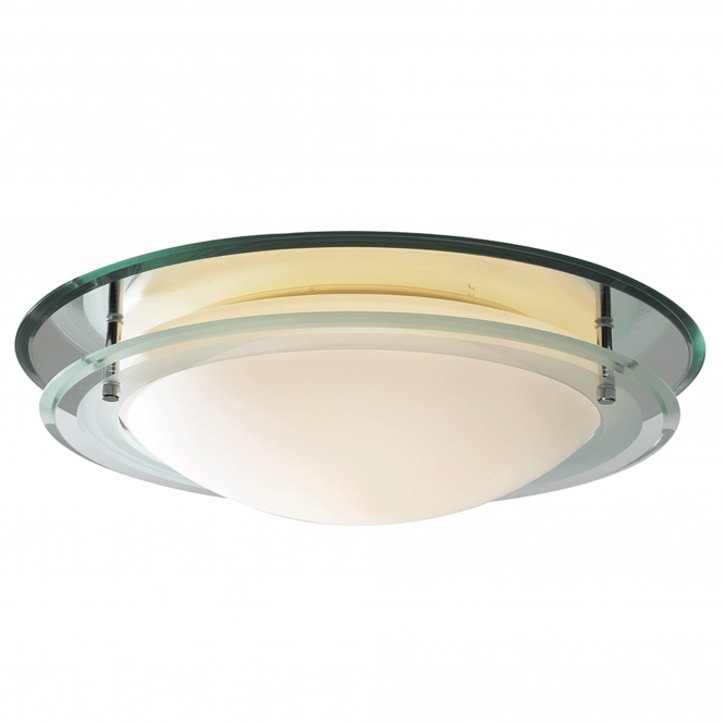 Dar Lighting Osis IP44 Mirrored Flush Ceiling Fitting