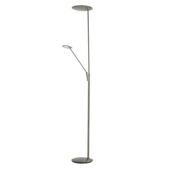 Dar Lighting Oundle Mother and Child Floor Lamp in Satin Nickel