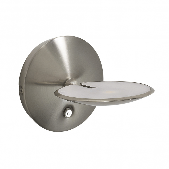 Dar Lighting Oundle Satin Nickel LED Dimmable Wall Light