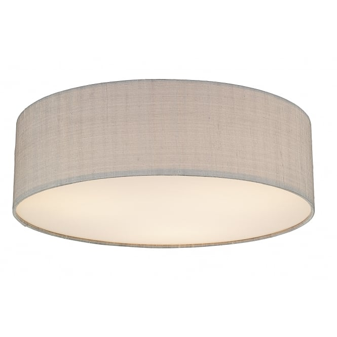 Dar Lighting Paolo 3 Light 500mm with Silver Grey Shade Manufactured from 100% Silk