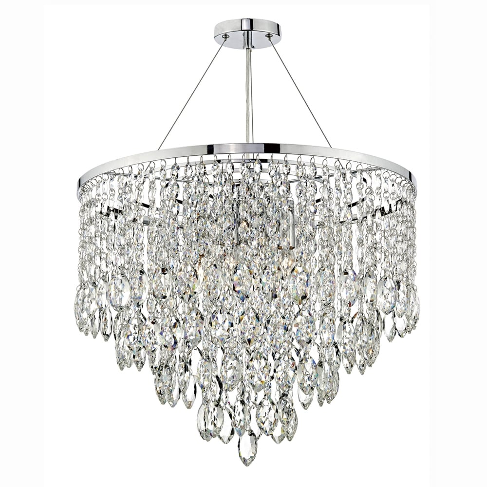 Dar lighting pescara five light pendant in polished chrome with pescara five light pendant in polished chrome with crystal drops mozeypictures Images
