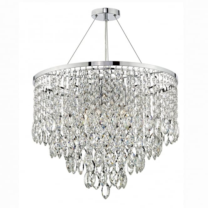 Dar Lighting Pescara Five Light Pendant in Polished Chrome with Crystal Drops