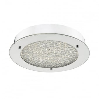Peta LED Ceiling Mounted Polished Chrome and Crushed Crystal Bead Diffuser