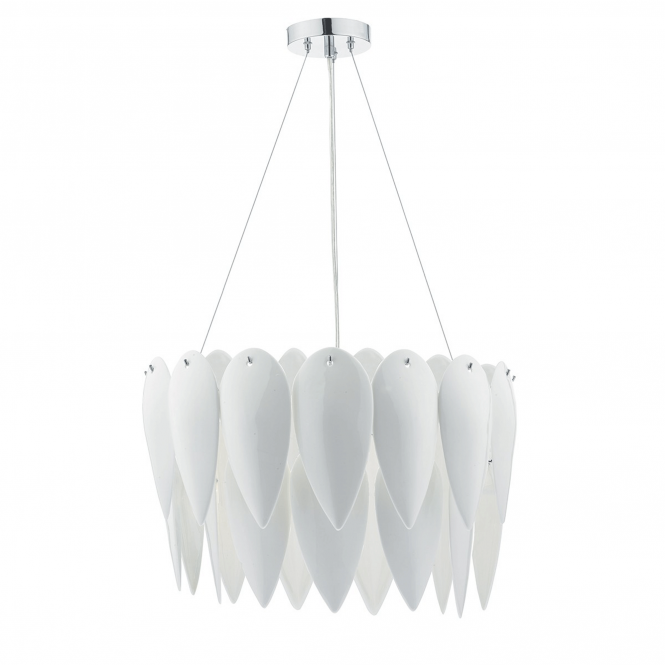 Dar Lighting Phillipa 3 Light White Ceramic Pendant