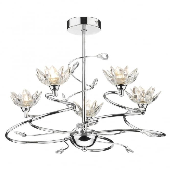 Dar Lighting Poppy 5 Light Semi Flush Fitting with Flower Shaped Crystals
