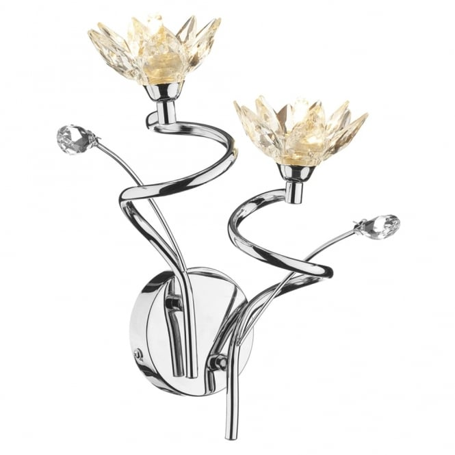 Dar Lighting Poppy Double Wall Light Fitting with Flower Shaped Crystals