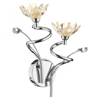 Poppy Double Wall Light Fitting with Flower Shaped Crystals
