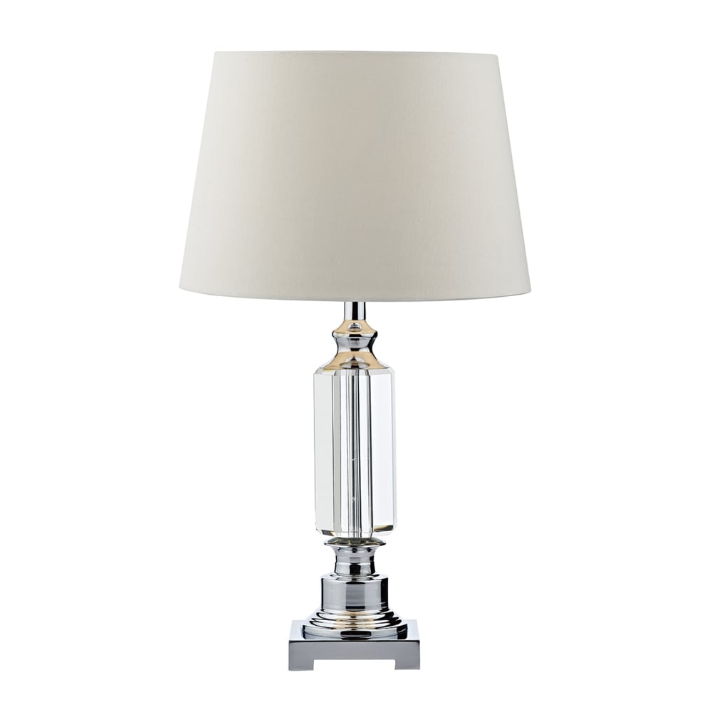 Dar lighting puerto table lamp in crystal glass and polished chrome puerto table lamp in crystal glass and polished chrome aloadofball Image collections