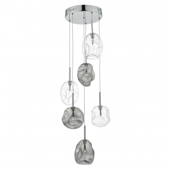 Quinn Six Light Blown Glass Cluster Pendant