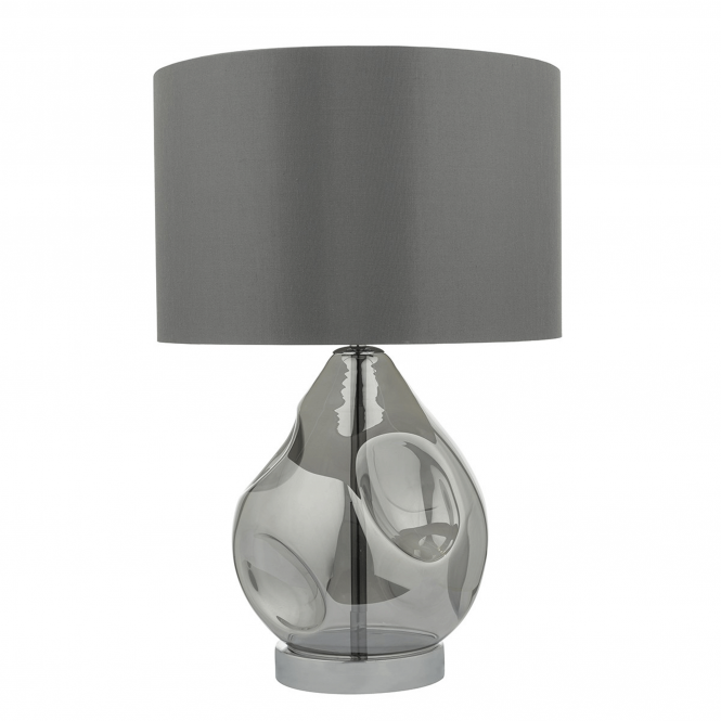 Dar Lighting Quinn Table Lamp with Grey Satin Shade