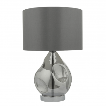 Quinn Table Lamp with Grey Satin Shade