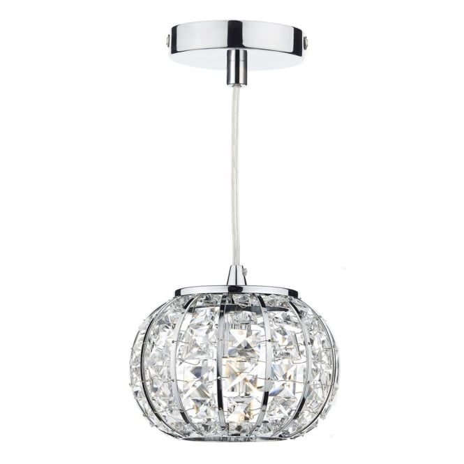 Dar Lighting Rae Single Light Mini Pendant with Crystal Glass