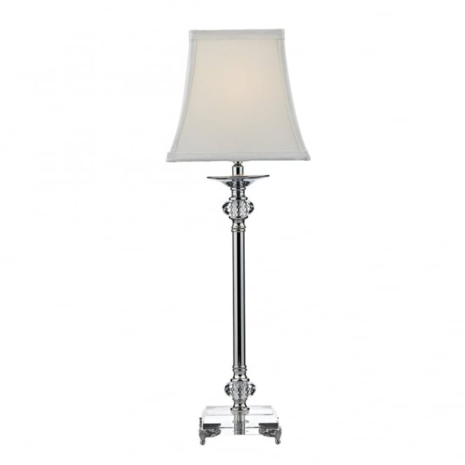 Dar Lighting Raj Table Lamp in Crystal Glass and Polished Nickel