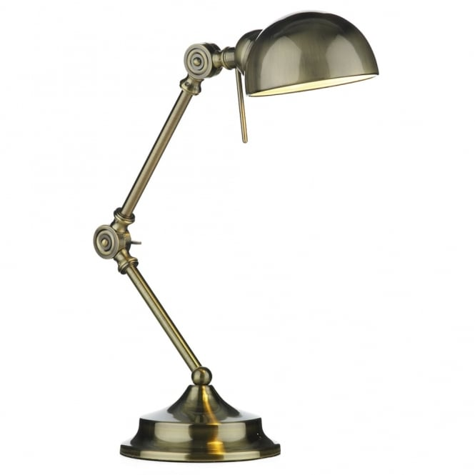 Dar Lighting Ranger Adjustable Head Table Lamp in Antique Brass
