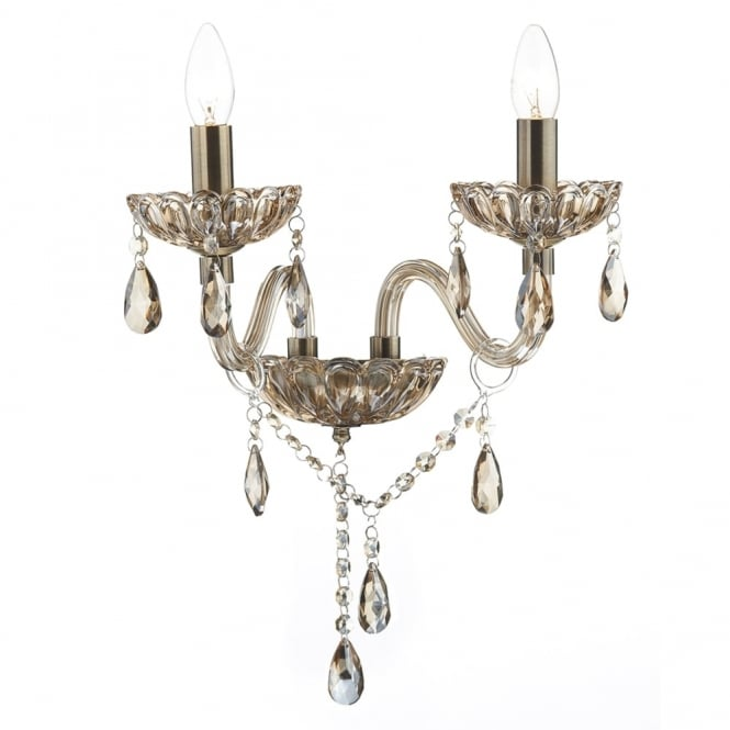 Dar Lighting Raphael Double Wall Light with Champagne Glass