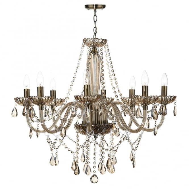 Dar Lighting Raphael Eight Light Chandelier with Champagne Glass