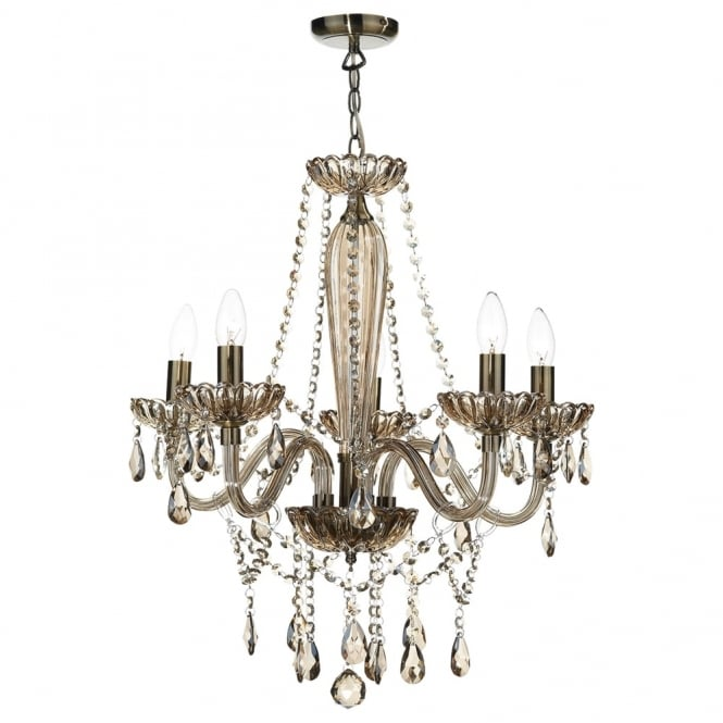 Dar Lighting Raphael Five Light Chandelier with Champagne Glass
