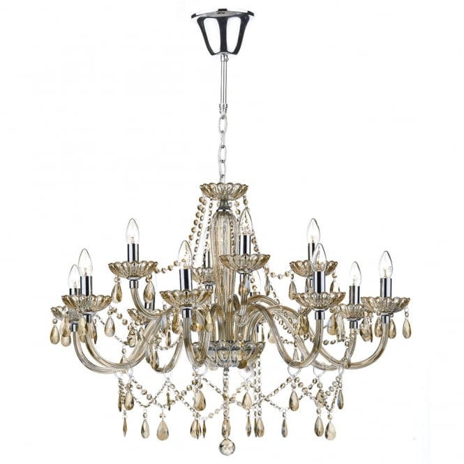 Dar Lighting Raphael Twelve Light Chandelier with Champagne Glass